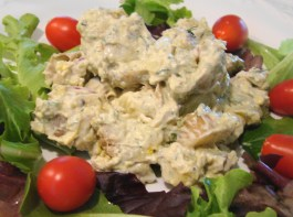 Potato salad with basil pesto and dill is a tasty cookout side dish (see recipe below in post).